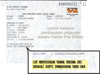 Contoh Kwitansi Pembayaran Angsuran Csf Melalui Kantor Pos